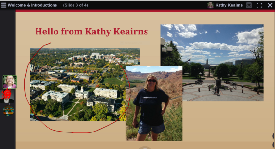 Screenshot of Voicethread with picture of Kathy, University of Iowa buildings and downtown Denver